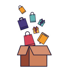 cardboard box with gifts falling isolated icon vector image