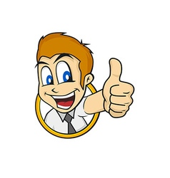 cartoon guy thumbs up vector image