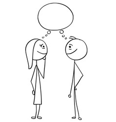 cartoon of man and woman with empty blank speech vector image