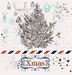 Christmas hand drawn background xmas decorations vector