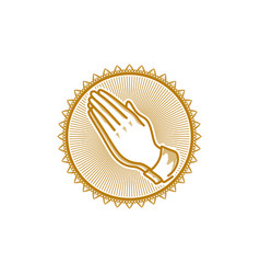 Church logo christian symbols praying hands vector