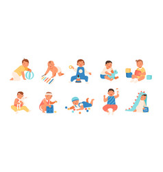 Collection of happy adorable babies playing with vector