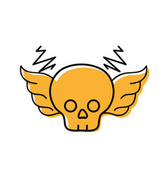 color skull with wings rock art symbol vector image