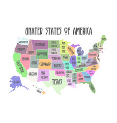 Colored poster map of united states of america vector