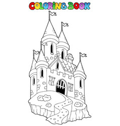coloring book with castle 1 vector image