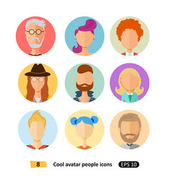 cool avatars flat icons different clothes vector image