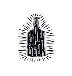 craft beer bottle in linocut style vector image