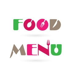 Creative food menu word logo elements vector