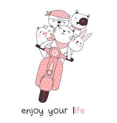 cute baanimals with motorcycles cartoon hand vector image