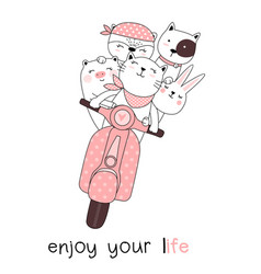 cute baby animals with motorcycles cartoon hand vector image