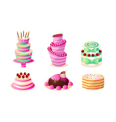 Decorated cakes for holidays and birthday with vector