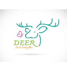 Deer and butterflies vector