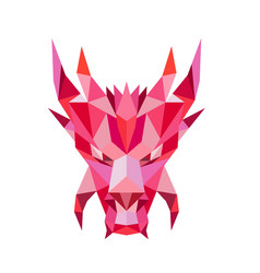 Dragon head front low polygon style vector
