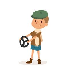 Driver boy car rudder cute cartoon vector