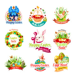 Easter sale and egg hunt celebration cartoon icons vector