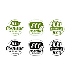 eco logo or label set of healthy natural organic vector image