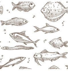 Fish sketch pattern background seamless vector