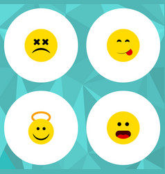 flat icon face set of wonder cross-eyed face vector image
