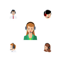 flat icon hotline set of operator service vector image