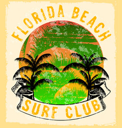 florida - concept in vintage graphic style vector image
