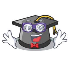 geek graduation hat character cartoon vector image