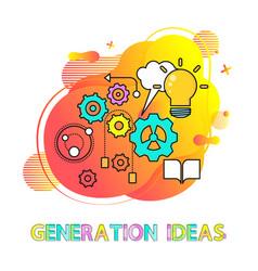 generation ideas cogwheel and lightbulb vector image