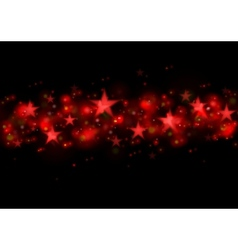 Glowing red stars dark vector image