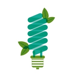 Green bulb fluorescent with leaves vector