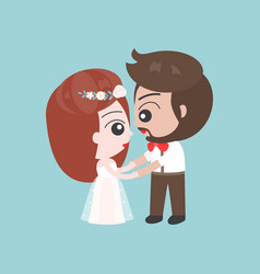 groom and bride holding hand cute character for vector image