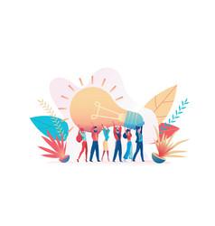group joyful people holds a huge light bulb vector image