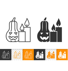 halloween pumpkin simple line candle icon vector image