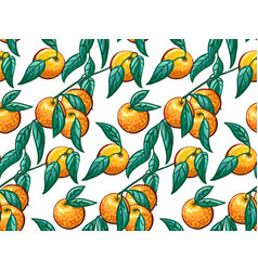 hand-drawn tropical seamless pattern with branch vector image