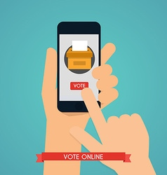 Hand holding smartphone with voting app on the vector image