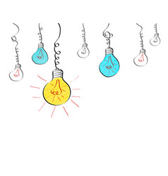 Hanging light bulbs with different glowing in vector