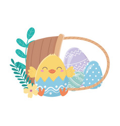 happy easter day chicken eggshell flowers eggs in vector image