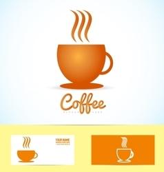 Hot coffee cup logo icon vector