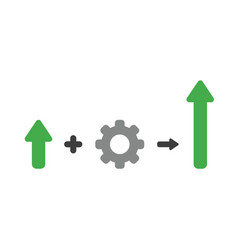 icon concept of arrow plus gear and moving up vector image