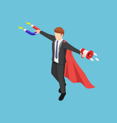 isometric super businessman holding magnet and vector image