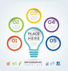 light bulb infographic diagram presentation steps vector image
