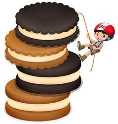 Little boy climbing up stack of cookies vector