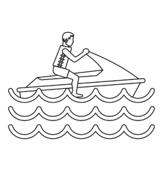 Man on jet ski icon simple style vector