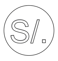 Monochrome contour with currency symbol of sol vector