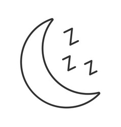 Moon with zzz symbol linear icon vector