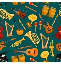 music pattern musical instruments flat icons vector image