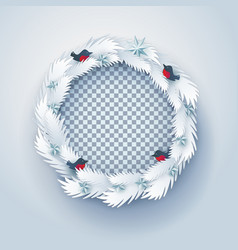 Paper christmas wreath with birds vector