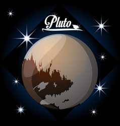 Pluto planet in the solar system creation vector