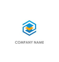 Polygon data technology logo vector