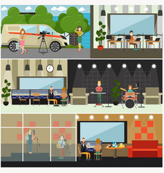 Radio broadcast concept flat poster set vector