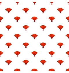 Red open hand fan pattern cartoon style vector