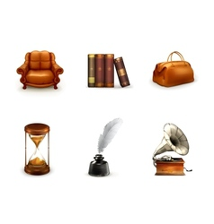 Retro icon set vector image vector image